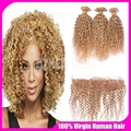 Honey Blonde Brazilian Hair With Closure #27 Strawberry Blonde Virgin Kinky Curly Human Hair 3 Bundles With Full Lace Frontals