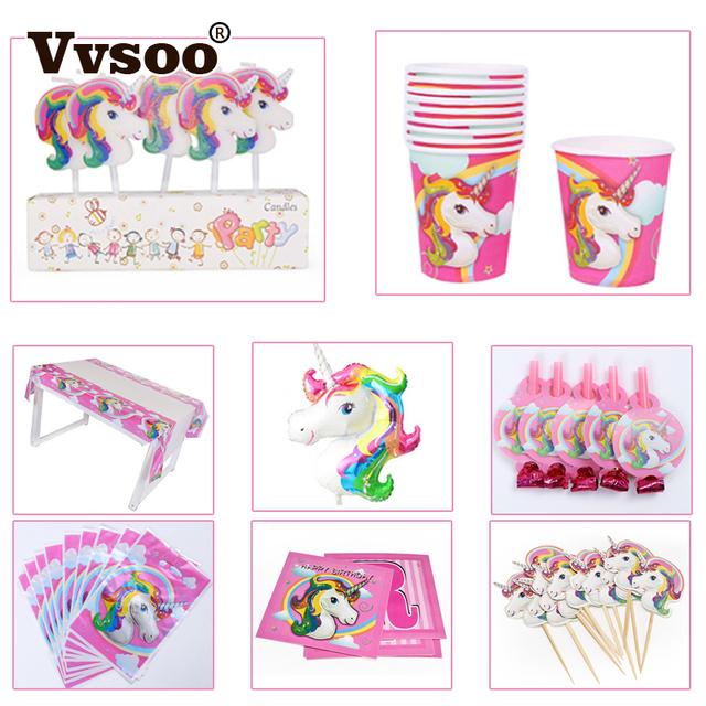 Vvsoo unicorn theme party decor unicorn banner tablecloth gifts bags vvsoo unicorn theme party decor unicorn banner tablecloth gifts bags invitation card cupcake topper ballons festival stopboris Images