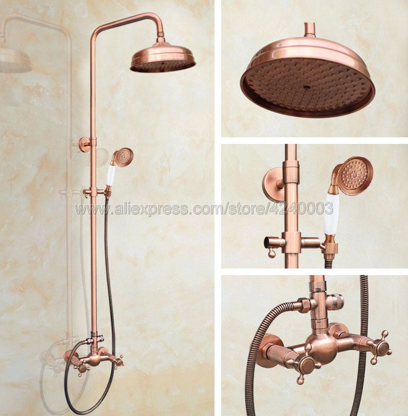 Antique Red Copper Shower Faucet 8''Rainfall Shower Head With Hand Shower Mixer Tap Krg524