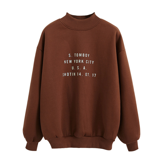 2018 Women'S Harajuku College Wind Letters Printed High Collar Plus Velvet Sweatshirt Female Korean Kawaii Tops For Women