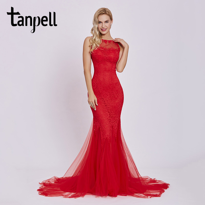 Tanpell sweep train   evening     dress   red scoop sleeveless appliques floor length gown women backless lace mermaid   evening     dresses