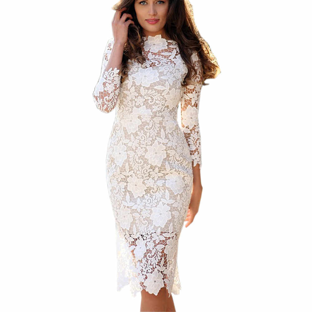 Womens Sexy Lace Bodycon Pencil Dress Cocktail Prom Gown Dress vestido women  dresses free shipping lady d24be956e53c