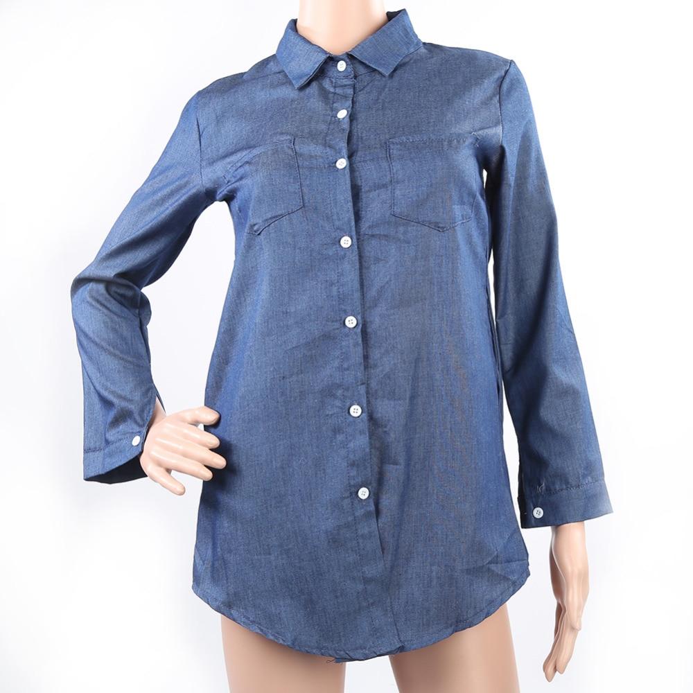 a175e2dd 2018 Spring Autumn Woman Denim Shirt Fashion Long Sleeve Casual Denim  Blouse Tops Shirt with Pockets Blusa Jeans Feminina