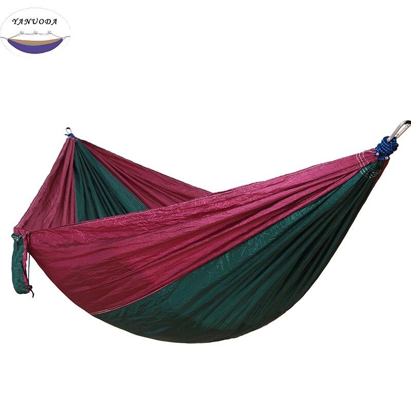 High Strength Camping Hammock Single Camp Hammock With Tree Rope Deep purple melted green