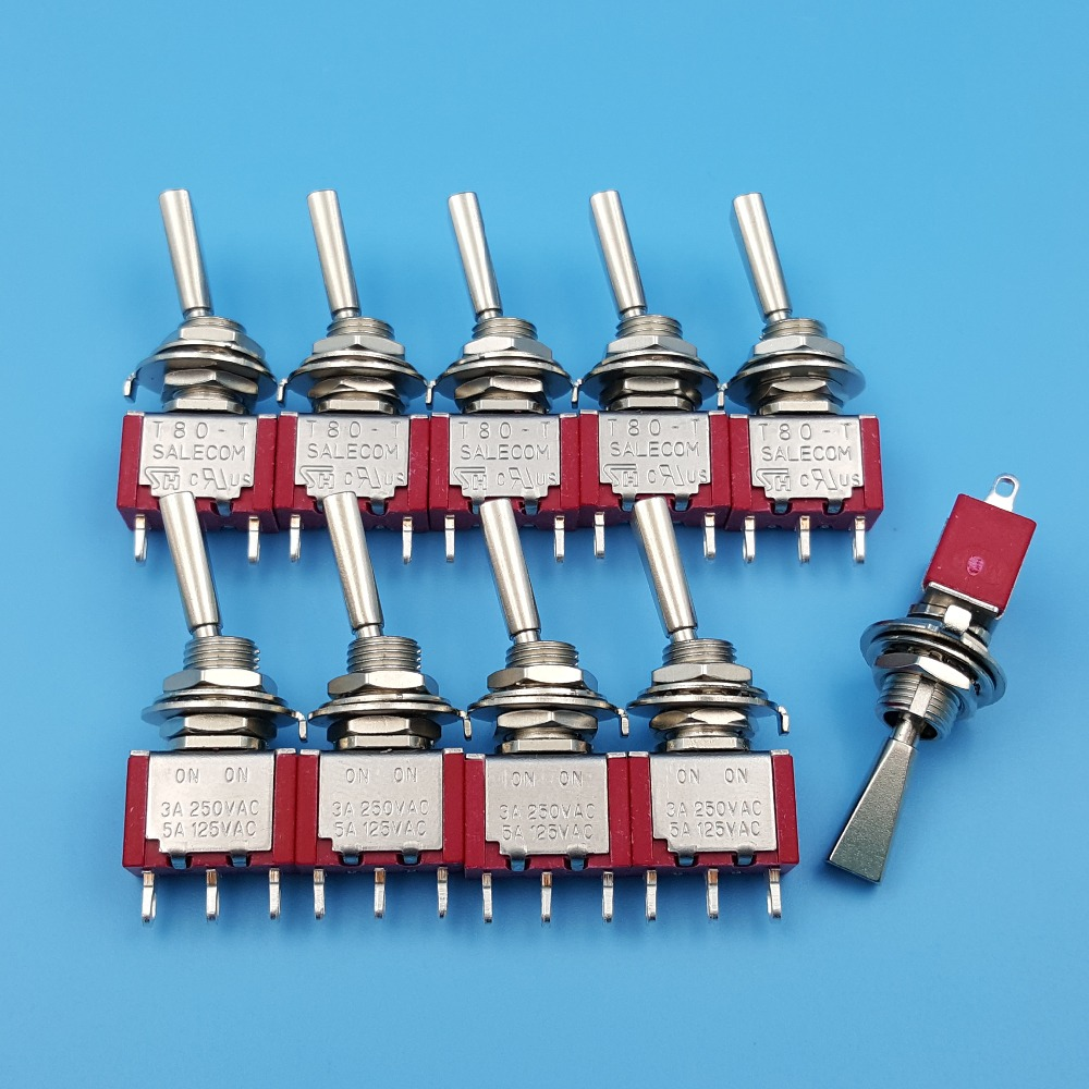 10Pcs SH <font><b>T8013</b></font>-UHB 3Pin Flat Handle ON-ON Maintained 2 Position SPDT Mini Toggle Switch image