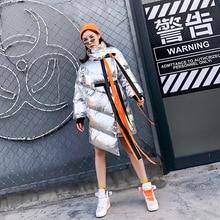Зима Новая Европейская станция Пряжка стример нерегулярная теплая хлопковая куртка женское шифоновое свободное лоскутное платье с длинным рукавом плащ хлебная одежда женская