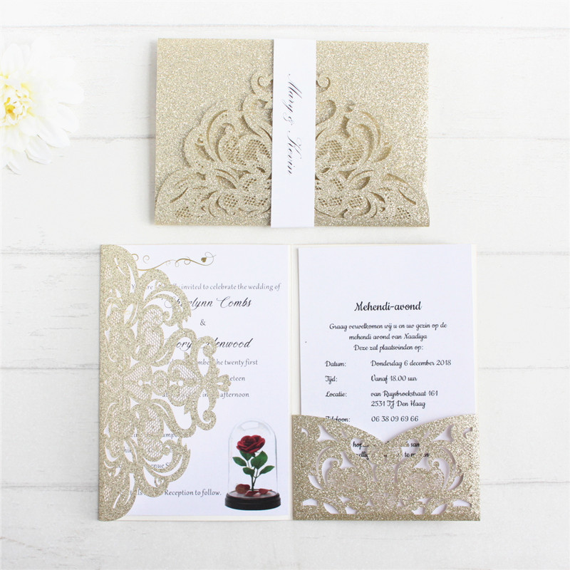 Glittery invitation anniversaire card with RSVP insert belly band luxury wedding cards pocket tri folding personalized