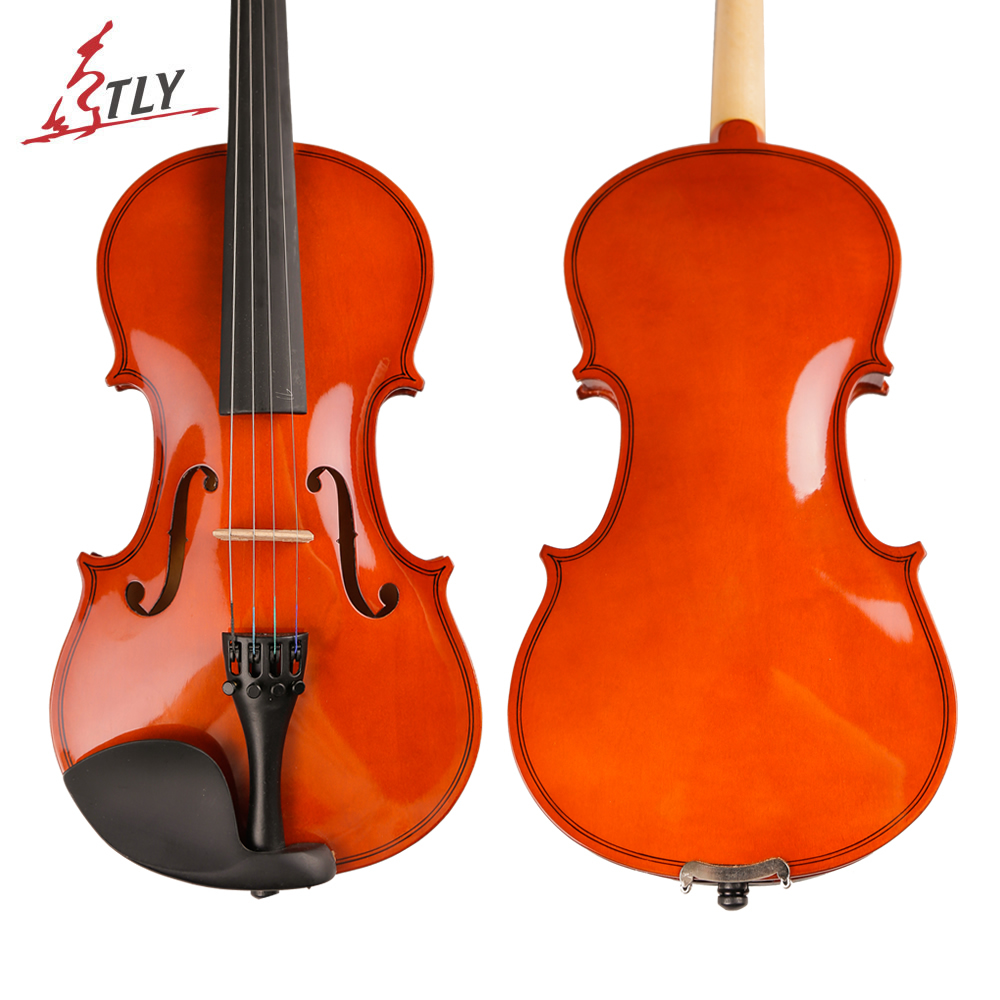 TONGLING Solid Wood Acoustic Violin Violino for Students Beginner Kids w/ Case Bow Strings Shoulder Rest Full Set Accessories tongling brand natural flamed maple acoustic violin 4 4 3 4 antique matt violino full size musical instrument with accessories