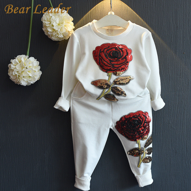 Bear Leader Girls Clothing Sets 2017 Spring Wool Sportswear Long Sleeve Rose Floral Embroidered Sequinsets Kids Clothing Sets