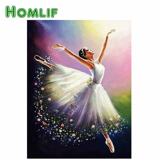 HOMLIF вышивка с кристаллами для девочек diy 5d алмазная вышивка балерина картины Смола картина ручной работы со стразами узор искусство