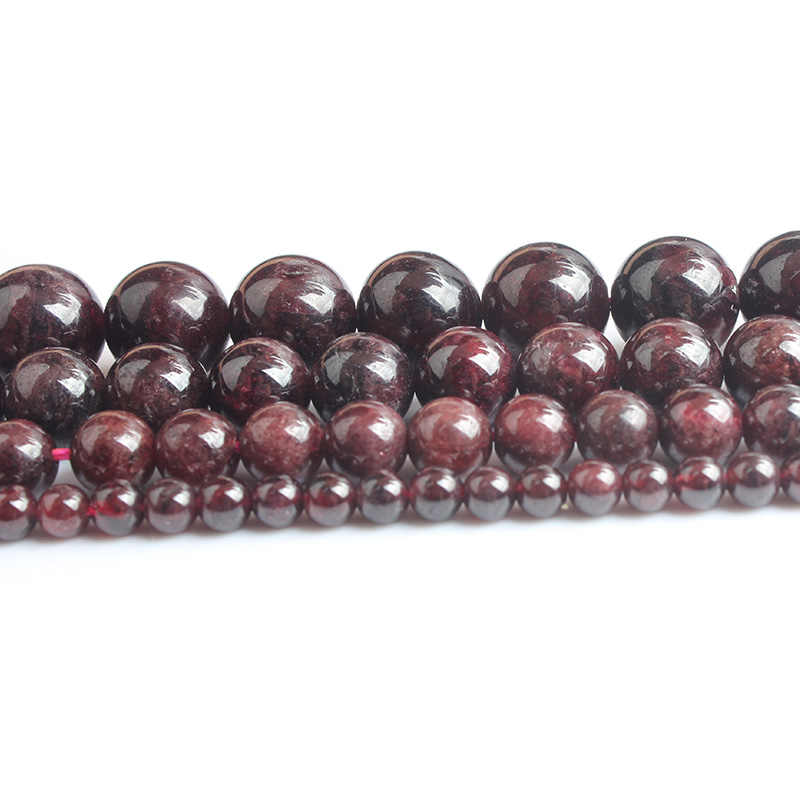 LanLi Fashion Natural Jewelry Dark Red Garnet stones Loose Beads 4 6 8 10 12mm be fit for DIY bracelet necklace Accessories