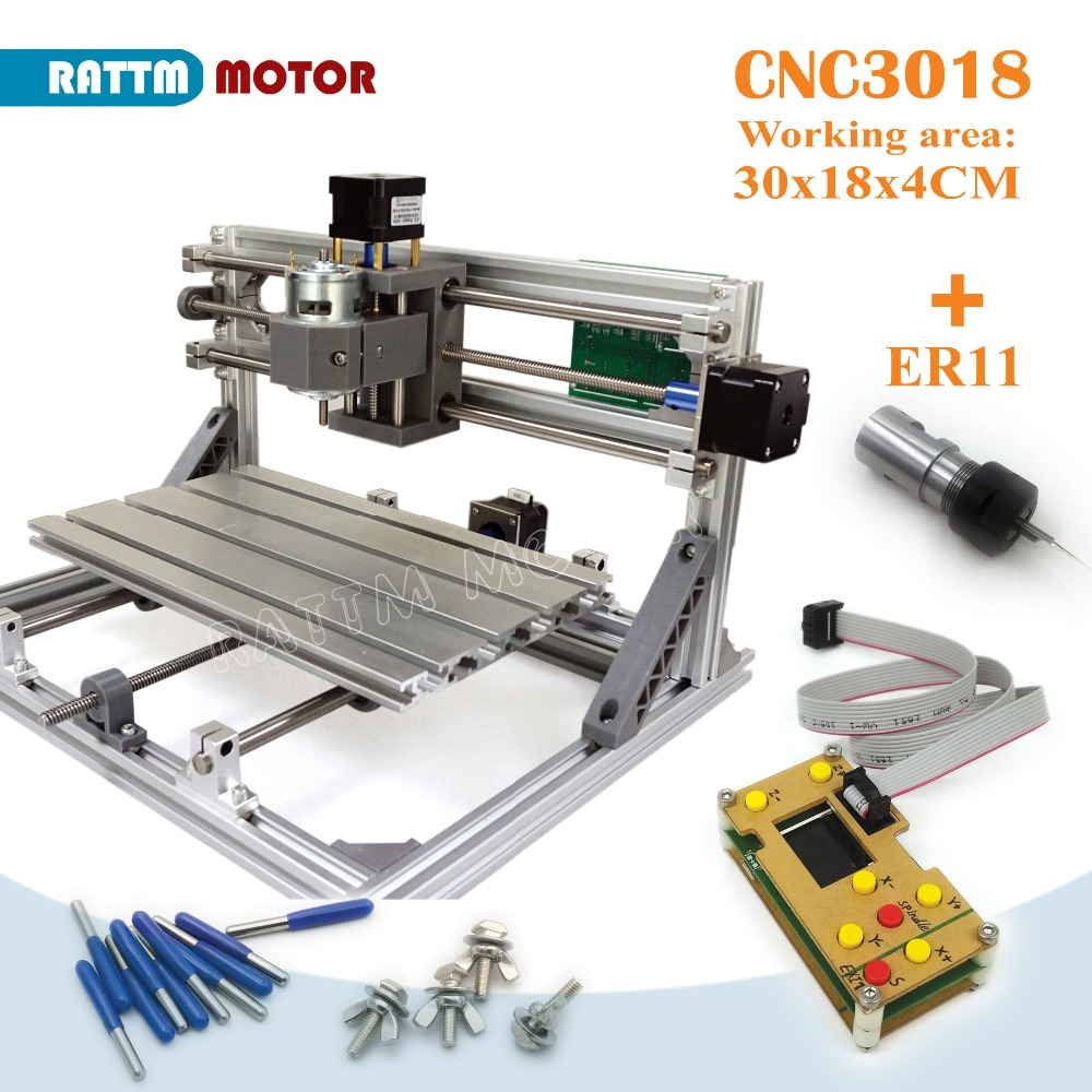 EU Delivery!! CNC 3018 GRBL control Diy CNC machine 30x18x4.5cm,3 Axis Pcb Pvc Milling machine Wood Router laser engraving v2.5