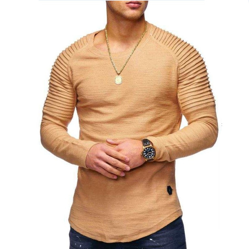 Long Sleeve Pleated Patch Detail T-Shirt Mens Fashion Solid Color O-Neck Slim