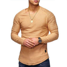 Long Sleeve Pleated Patch Detail Long Sleeve T-Shirt Men's Fashion Solid Color O-Neck T-Shirt Men's Slim Long Sleeve T-Shirt long sleeve patch design suede insert denim shirt