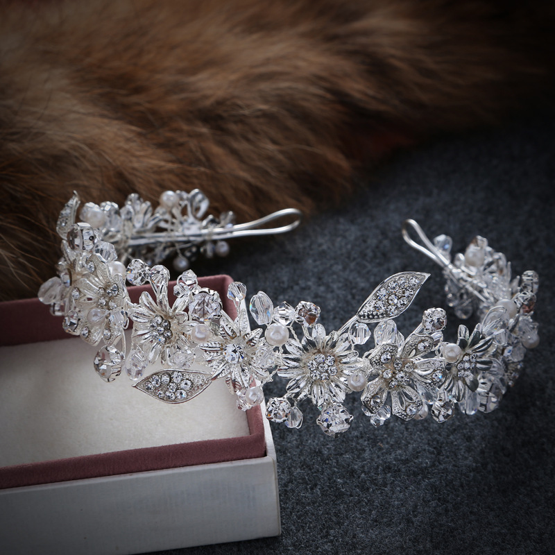 Dower me Silver Flower Rhinestone Wedding Hair Crown Handmade Bridal Crystal Headband Headpiece