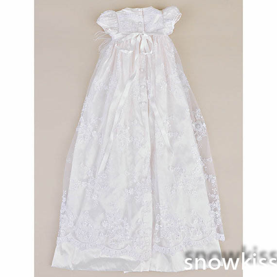 2016 Lace Elegant Newborn Heirloom Dedication Christening Gown Blessing Dress with Bonnet Baby Baptism Robe For Boys Girls