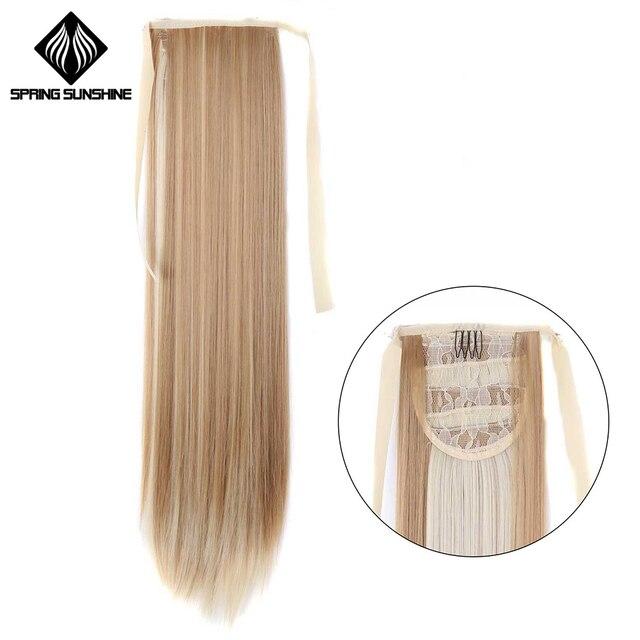 Primavera sol 60 cm Clip recto largo en la cola de pelo falso Cola de Caballo pieza de pelo con horquillas extensiones de cabello sintético