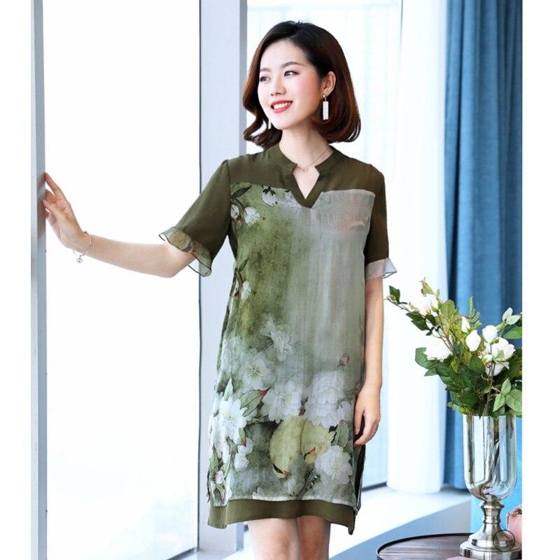 Été manches courtes robe femmes col en v impression encre peinture vert robe longue au genou grande taille 4XL lâche faux deux pièces robe