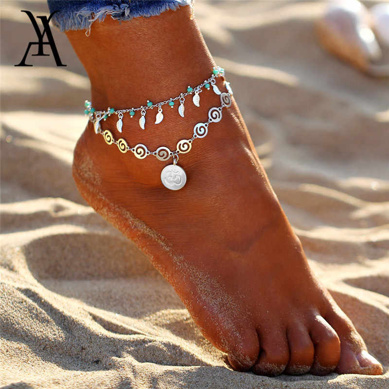 Vintage Double Layer Anklets For Women Bohemian Leaf Pendant Anklet Fashion  Leg Chain Feet Jewelry Beach