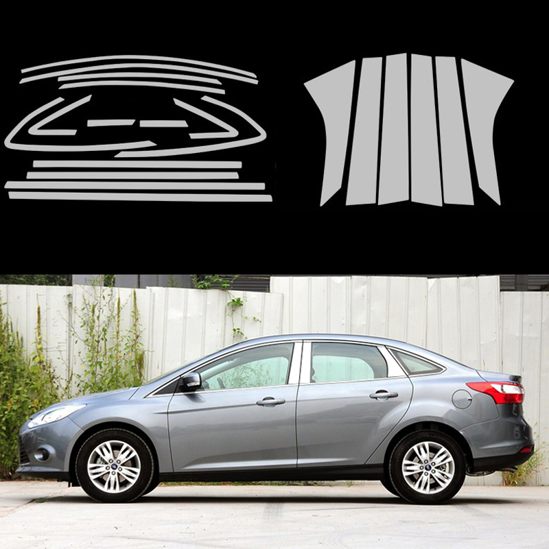 Stainless Steel Full Window Trim Decoration Strips For Ford Focus 3 Sedan 2012 2013 2014 Car Styling Car-covers 20 for vauxhall opel astra j 2010 2014 stainless steel window frame moulding trim center pillar protector car styling accessories