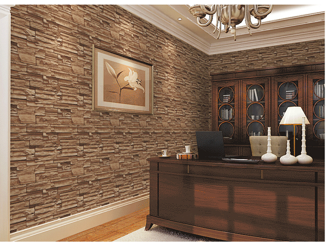 3D Dining Room Stone Brick Design Wallcovering TV Background Wall Vinyl Ikea Wallpaper Modern Roll