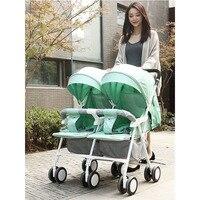Licht Gewicht Twin Kinderwagen Baby Kinderwagen voor Twee Baby 'S Kan Zitten Kan Liggen Kinderwagen 5