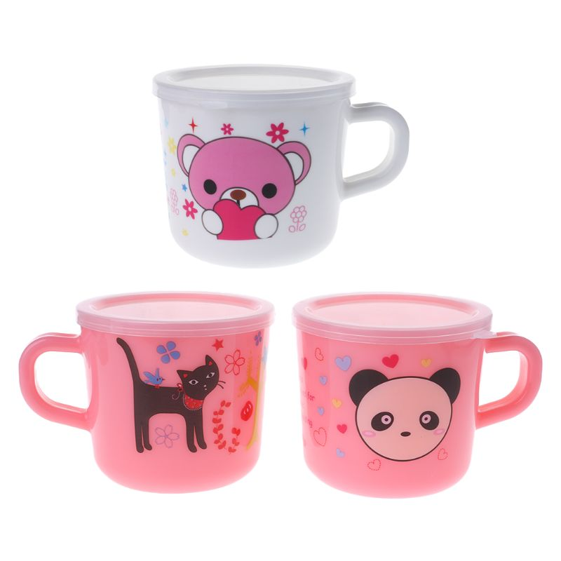 1 Pc Baby Cartoon Trinken Tasse Wasser Getränke Milch Saft Fütterung Ausbildung Tassen Praxis Trinken Kunststoff Tasse Mit Abdeckung Nachfrage üBer Dem Angebot