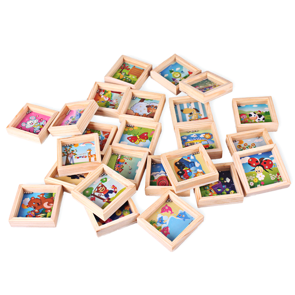 Boy Kids Love Mini Maze Toy Square Wooden Block Toy Kids Balance Game Labyrinth Educational Toy wooden magnetic labyrinth maze educational game toy