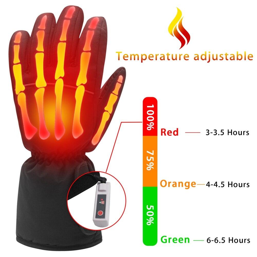 GlobalV batterie électrique gants chauffants pour hommes femmes, activités de plein air moto Ski randonnée chaleur chaude gants Rechargeable - 2