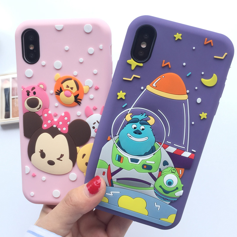 For iPhone 7 7plus Cute minnie Cases Cover , Cartoon Sullivan Monsters Back Cell Case Funda Capa For iPhone X 8 8plus 6 6S 6plus