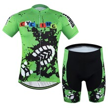 2016 New Men Bike Clothing Suits Green Cycling Jersey Sets Bicycle Top Cycling Wear Shirts Garment Clothes