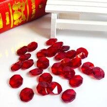 100 шт/партия, 14 мм красные хрустальные Восьмиугольные бусины люстра лампа освещение аксессуары для занавеси в двух отверстиями свадьба DIY Декор