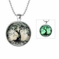 Hermosa joyería nuevo regalo de Halloween accesorios de plata árbol patrón collar pendiente fluorescente YGN157-A
