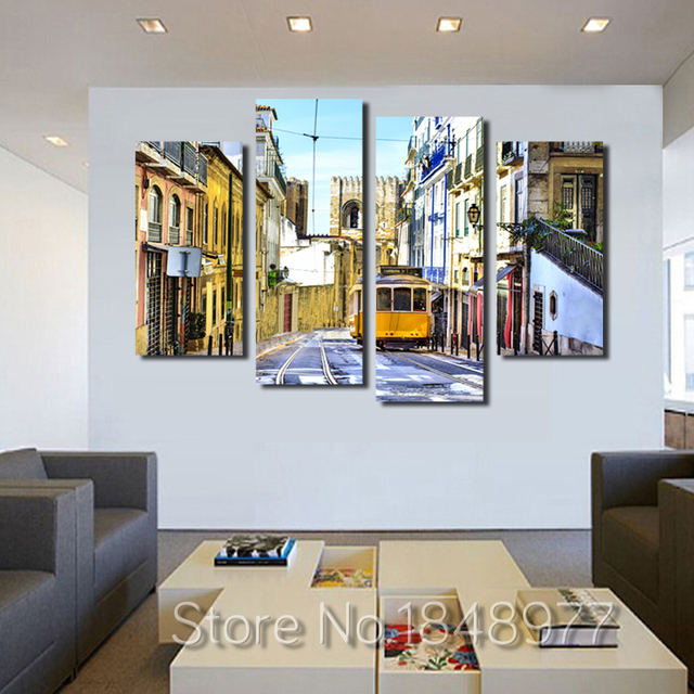 4 Stuk Modern Interieur Landschap Voor Woonkamer Schilderij Decor ...