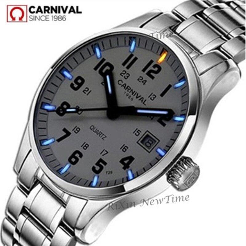 Military sports tritium luminous quartz men watch waterproof200m full steel genuine leather strap luxury brand watches