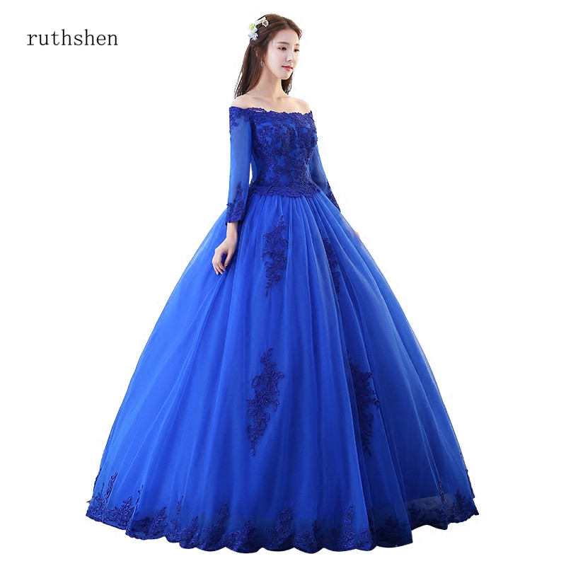 ruthshen Quinceanera Dresses Royal Blue Masquerade Vestido Vintage Off The Shoulder Ball Gown Puffy Prom Dresses