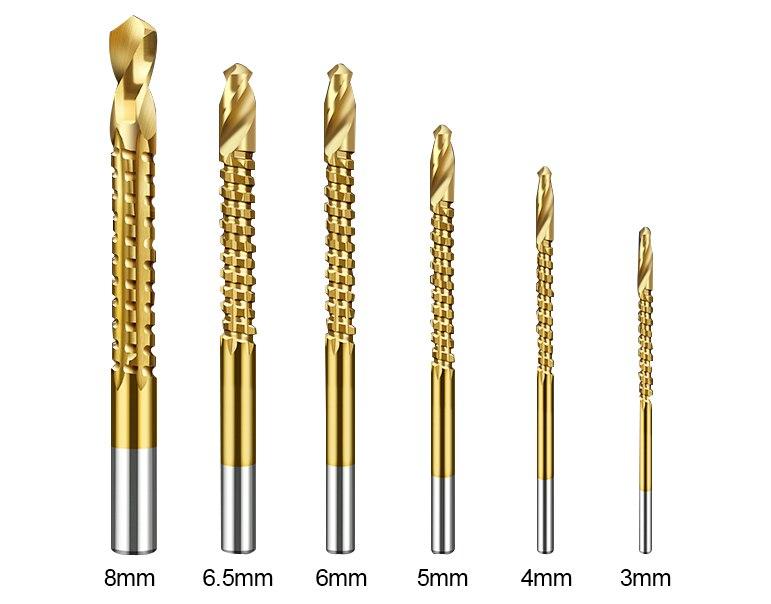 LANNERET 6PCSS Power Drill & Saw Set HSS Steel Titanium Coated Woodworking Wood Twist Drill Bit (3)
