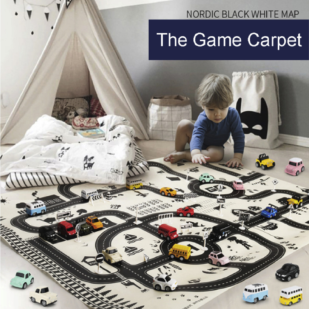 Big Play Mats Traffic Game SET With Alloy Car Roadblock Learn About Transportation Map Nordic Style Toys For Boys Gift