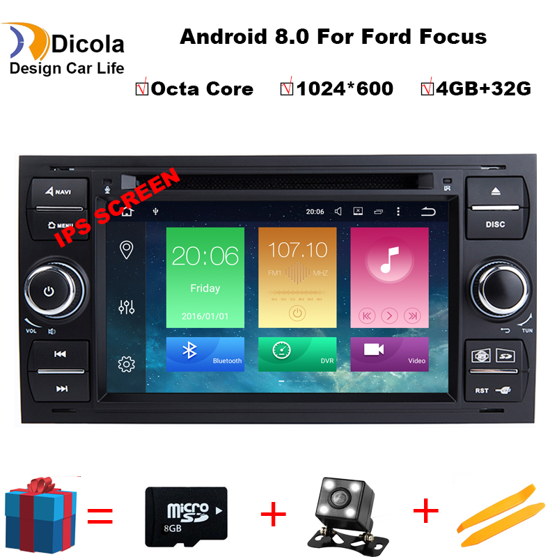 Android 8.0 4g + 32g Octa Core 2 din Voiture LECTEUR DVD Pour Ford Mondeo s-max focus C-MAX Galaxy Fiesta Forme Fusion Radio stéréo