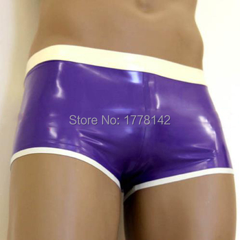 Ropa interior de látex púrpura y blanco Sexy hombre de látex Boxer con adornos