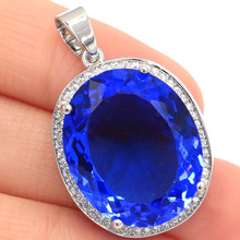 Gorgeous Rich Blue Violet Tanzanite, White CZ Cross Woman's 925 Silver Pendant 51x33mm