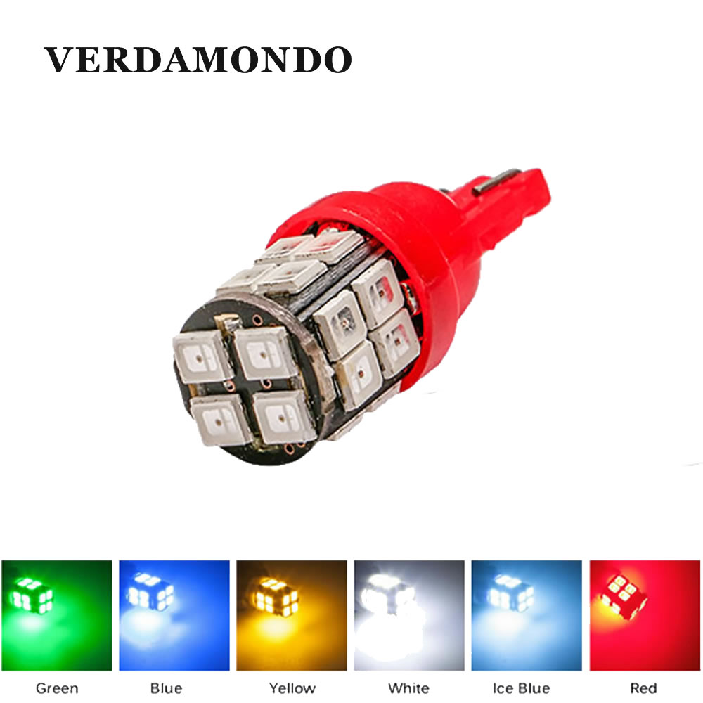 T10 W5W 168 194 LED Bulb 20SMD 2835 Side Marker Lights Map Turn Signal Lamp Instrument Panel Lamp Reading Lamp 6 Colors