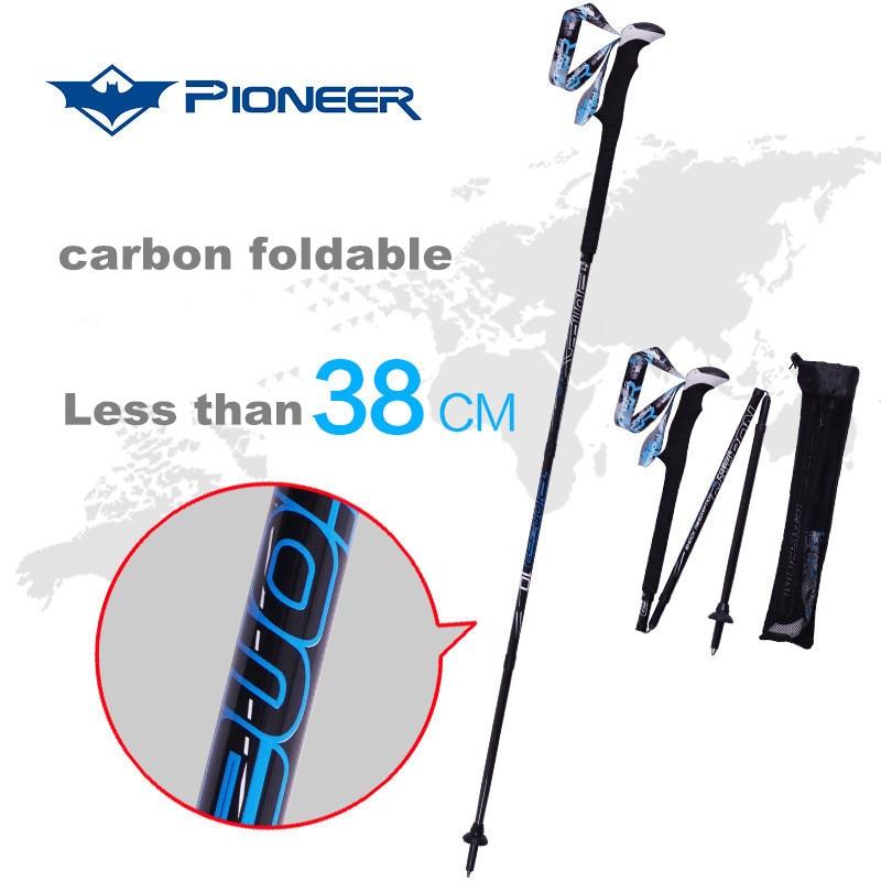 ФОТО High quality ski poles foldable crutch Trekking Pole carbon fiber walking sticks walking pole alpenstock for ski hiking trekking