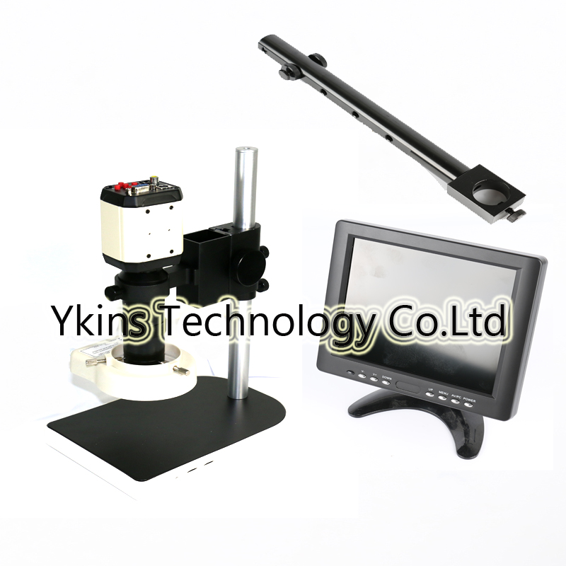 3in1 2.0MP HD Adjustable Industrial Microscope Camera Set VGA CVBS AV TV USB Output + 130X C mount Lens + Table Stand Holder