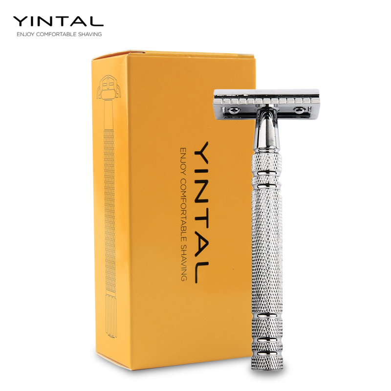 YINTAL Mens Bronze Classic Double-sided Manual Razor Long Handle 3-piece Safety Bright Silver