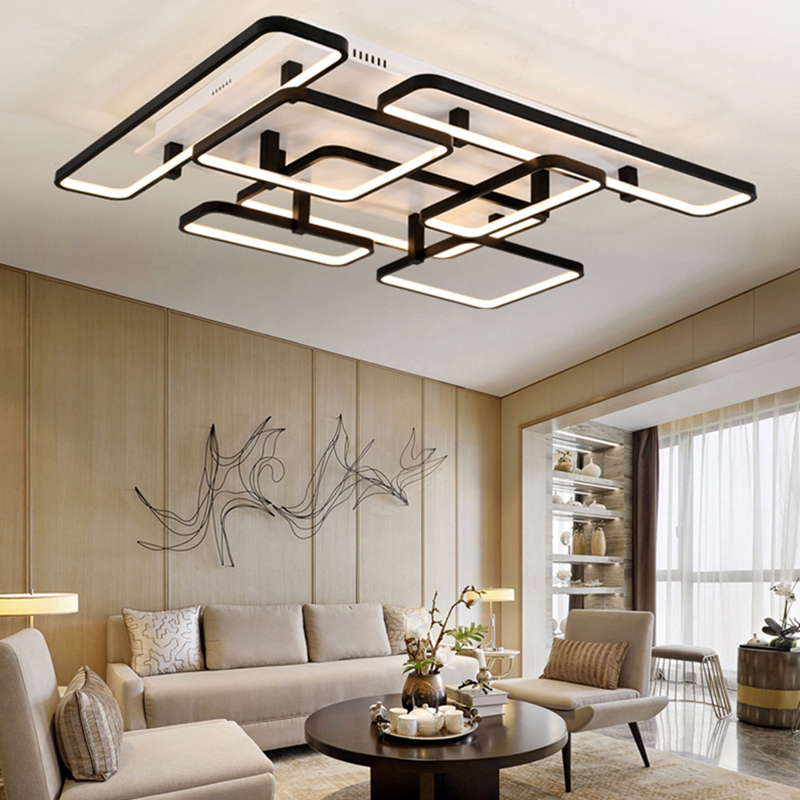 NEO Gleam Rectangle LED Ceiling Chandelier For Living Study Room Square Modern Led Ceiling Chandelier Lamp Fixture For Bedroom black or white rectangle living room bedroom modern led ceiling lights white color square rings study room ceiling lamp fixtures