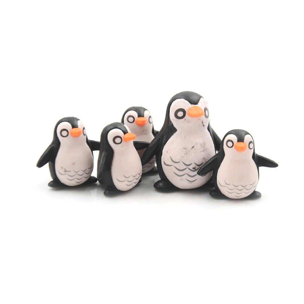 Pingüino Caracol conejo animales de hadas miniaturas de jardín Mini gnomos terrarios con musgo resina estatuillas para jardín decoración