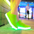 2016 Fashion Led Glowing  Luminous Shoes Creepers Women Flat Thick Platform Woman Jelly Candy Casual Breath Shoes Tenis Feminino