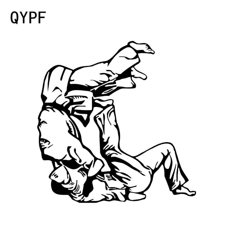 QYPF 13.5*13.8CM Interesting Fighting Judo Graphic Car Sticker Reflective Accessories Vinyl Silhouette C16-0367