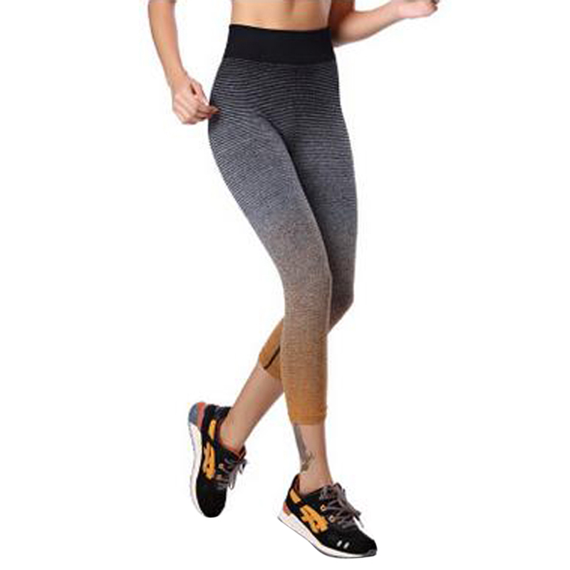 Yoga Pants Women High Waist Strip Pattern Skinny Running Sport Leggings 1